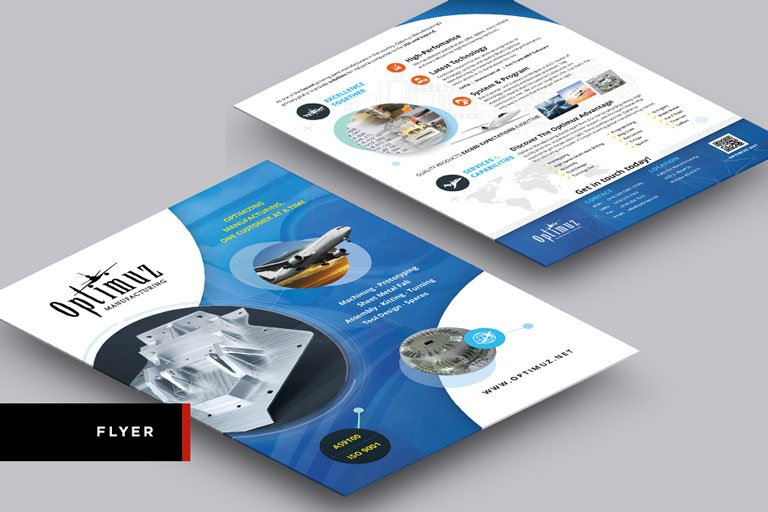 Optimuz Manufacturing's Flyer Design Front and Back